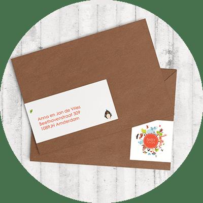 Handige adreslabels in dezelfde stijl als het geboortekaartje