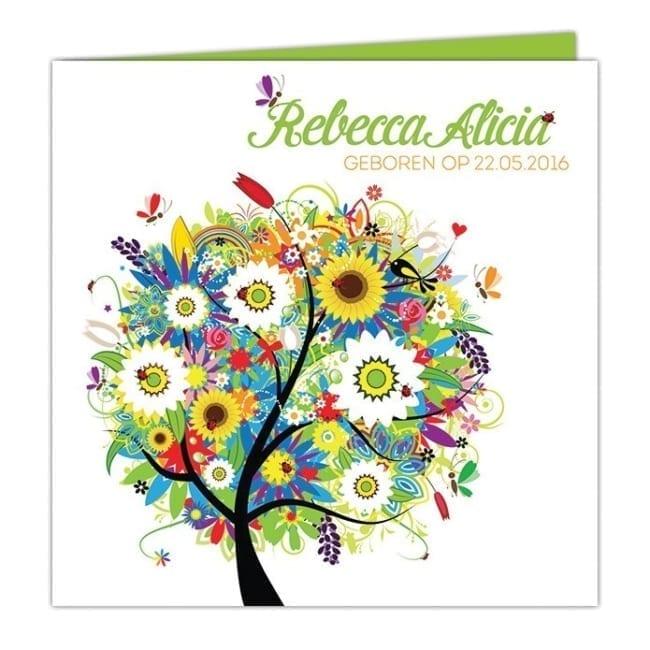 Een fantasierijke boom die straalt van geluk, in vrolijke uitbundige kleuren! Op de voorkant van geboortekaartje Boom van Geluk is het een feest. Voorkant van geboortekaart.
