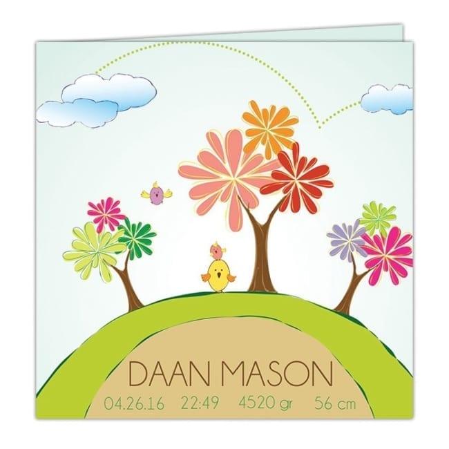 Geboortekaartje Boompjes presenteert vrolijke en abstract boompjes in allerlei kleuren, op een heuvel - Geboortekaartjes met boom