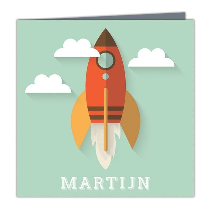 Abstracte geboortekaartjes - een raket die de wolken in vliegt; Geboortekaartje Raket is een ontwerp in een retro abstracte stijl.