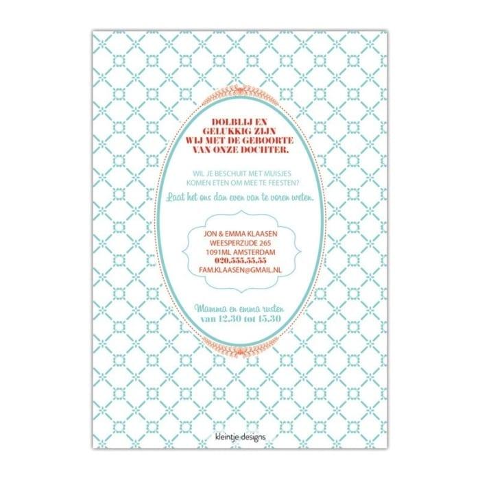 Geboortekaartje Retro Kaartje is een retro & typografisch ontwerp: veel fonts, mooie illustraties met tekst - valt onder: geboortekaartjes typografie - Afbeelding van achterkant kaartje.