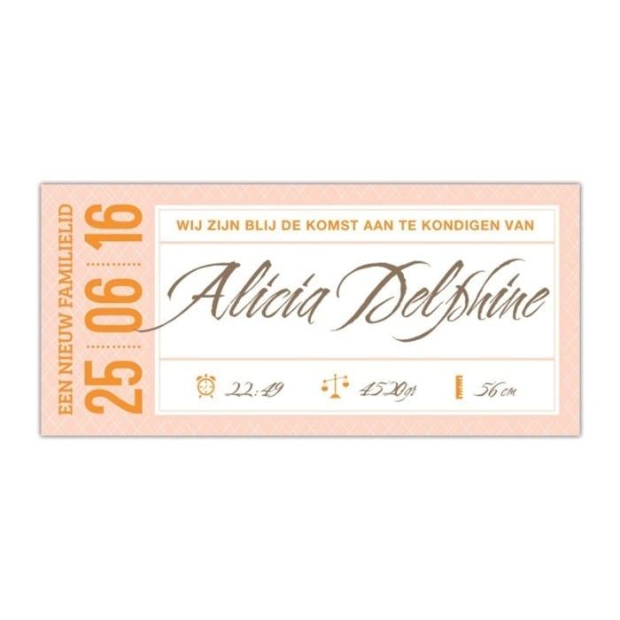 Geboortekaartje Ticket met mix van retro en moderne elementen, sierlijk en een strak lettertype