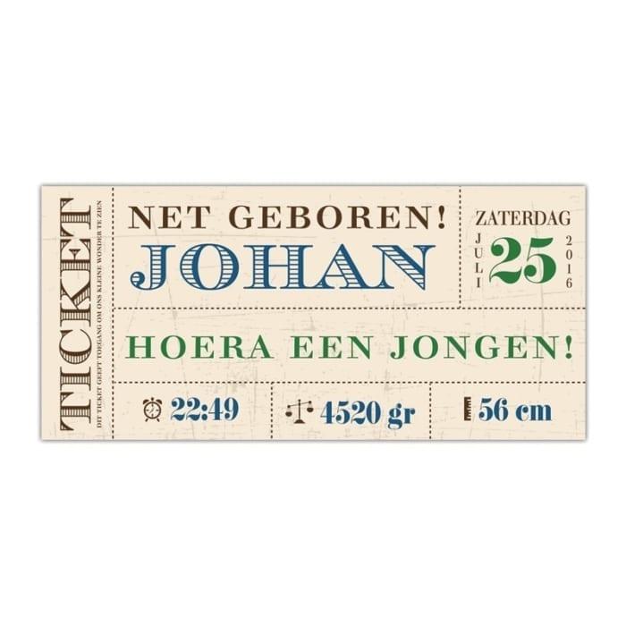 Ticket geboortekaartjes - vintage ontwerp met mooie fonts en kraft-achtergrond - Geboortekaartje Vintage Ticket