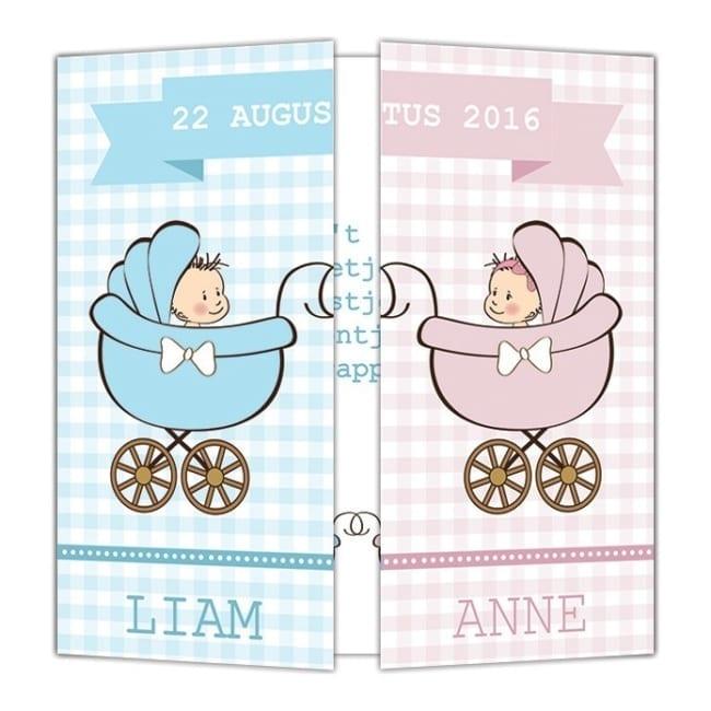 Twee leuke baby's op geboortekaartje Tweeling; 1 baby aan beide kanten van het drieluikskaartje.