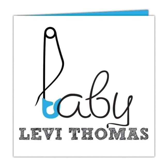 Leuke, moderne geboortekaartjes: een abstracte illustratie van een veiligheidsspeld verwerkt in het woord baby