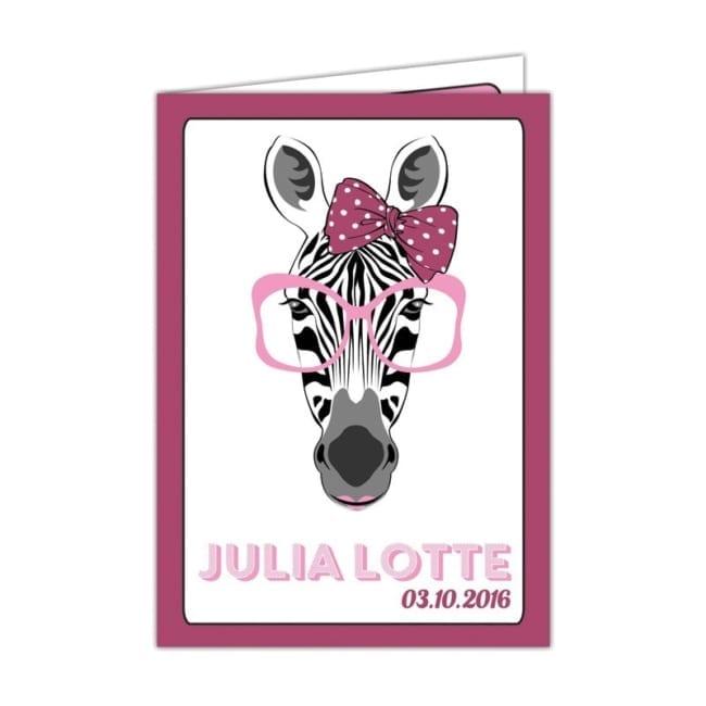 Geboortekaartje Zebra - Een leuke zebra met een grote, roze bril op - Cartoon geboortekaartjes