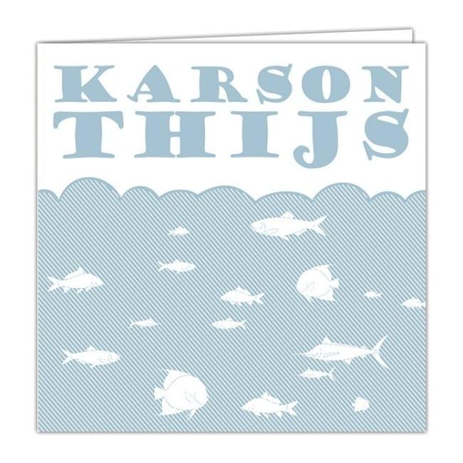 Geboortekaartje Visjes zet een leuk tafereel neer, een zee vol met vissen; abstracte stijl