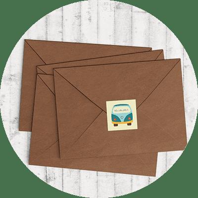 Sluitzegels om de envelop met het geboortekaartje mee te sluiten op fraaie wijze