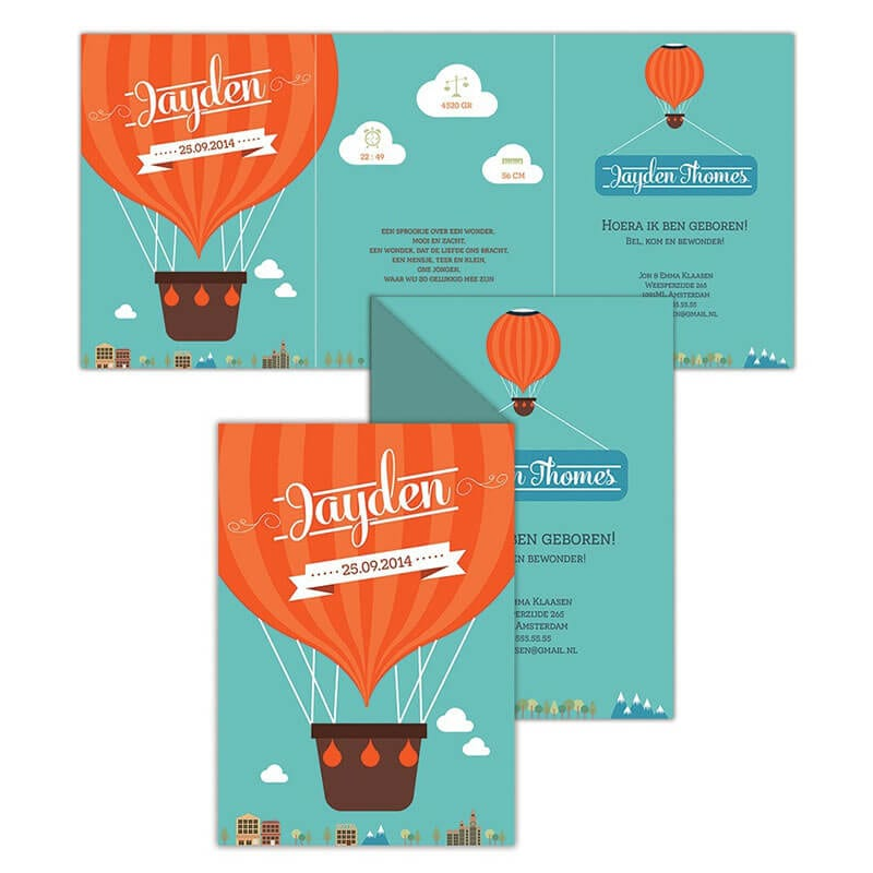 Geboortekaartje luchtballon met mooie, oranje ballon