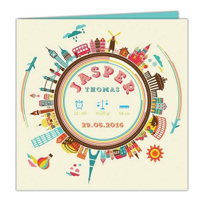 Geboortekaartje met een hele hoop illustraties van belangrijke gebouwen uit allerlei wereld-steden - Geboortekaartje Steden