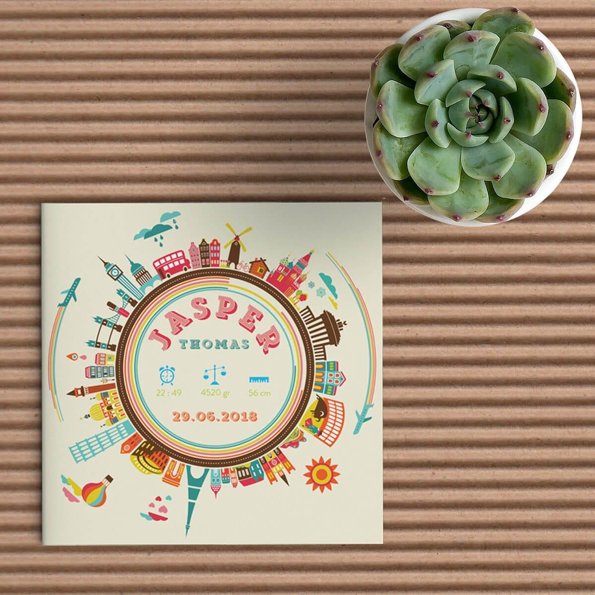 Geboortekaartje met een hele hoop illustraties van belangrijke gebouwen uit allerlei wereld-steden - Geboortekaartje Steden - Geboortekaartje Wereld Steden - Geboortekaartjes wereld