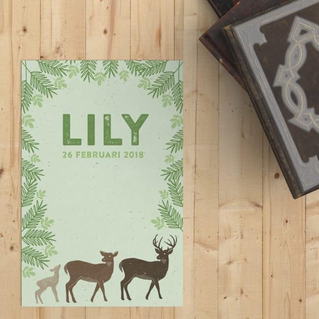 Een lief hertengezin prijkt op de voorkant van geboortekaartje Hertjes, omringd door groen, in het bos. Voorkant geboortekaart.