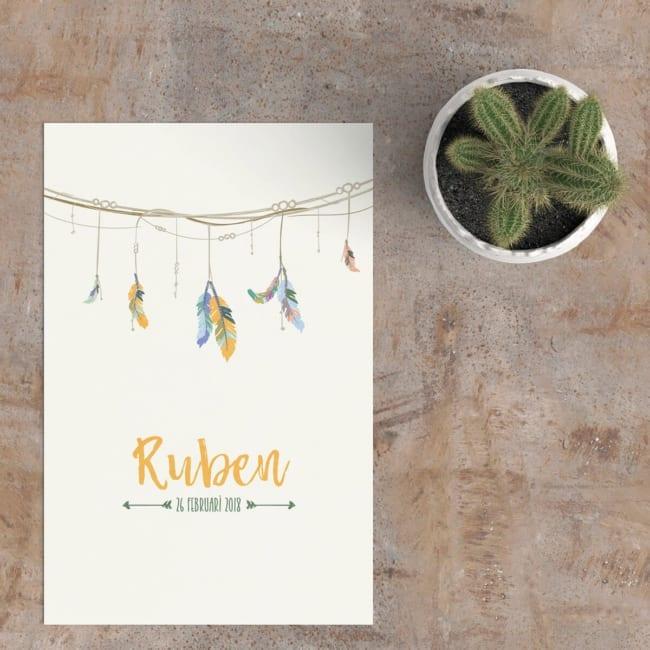 Stijlvol ontwerp, geboortekaartje Slinger met Veren (Jongetje) gebruikt getekende illustraties van kleurvolle veertjes en plaatst deze hangend aan een gedetailleerde, sierlijke slinger.