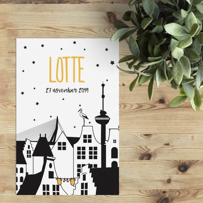 Geboortekaartje Rotterdam is een ontwerp met Rotterdams accent; het kenmerkende Rotterdamse stadsgezicht met de Euromast en de bekende Erasmusbrug.