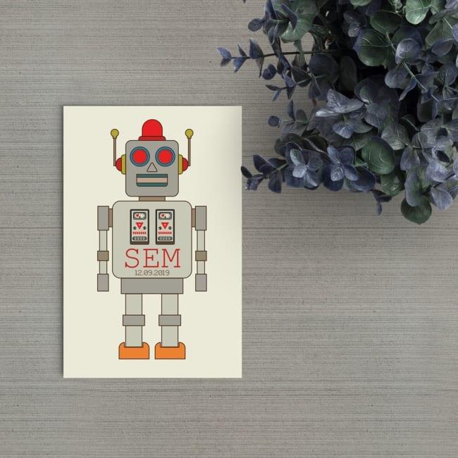 Een leuk ouderwets robotje staat op de voorkant van geboortekaartje Retro Robot. Het is een echte retro stijl illustratie, eenvoudig, zonder tierelantijnen.