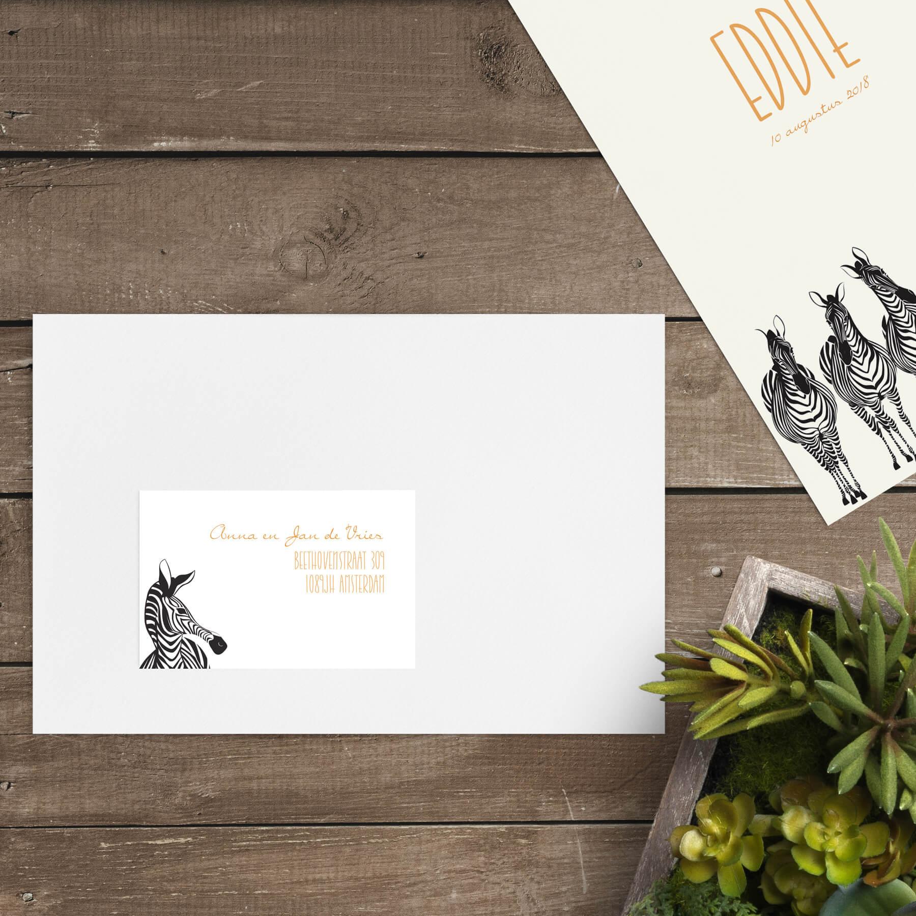 Een zebra komt om de hoek kijken op dit adreslabel, een van de kletsende zebra's van geboortekaartje Zebra Parade en past dan ook perfect bij dat ontwerp.