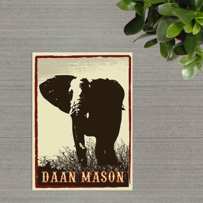 Grungy, vintage geboortekaartjes met olifant illustratie - Voorkant van Geboortekaartje Olifant