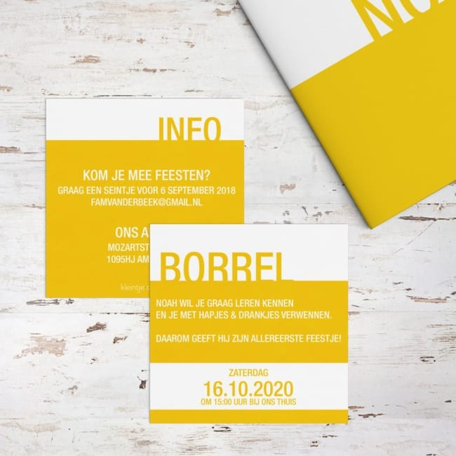 Babyborrel Uitnodiging - Kleur - Vierkant formaat, minimalistisch ontwerp