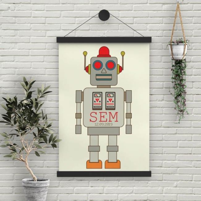Een groot formaat geboorteposter (meerdere formaten mogelijk) met een grote illustratie van de retro robot van geboortekaartje Retro Robot.