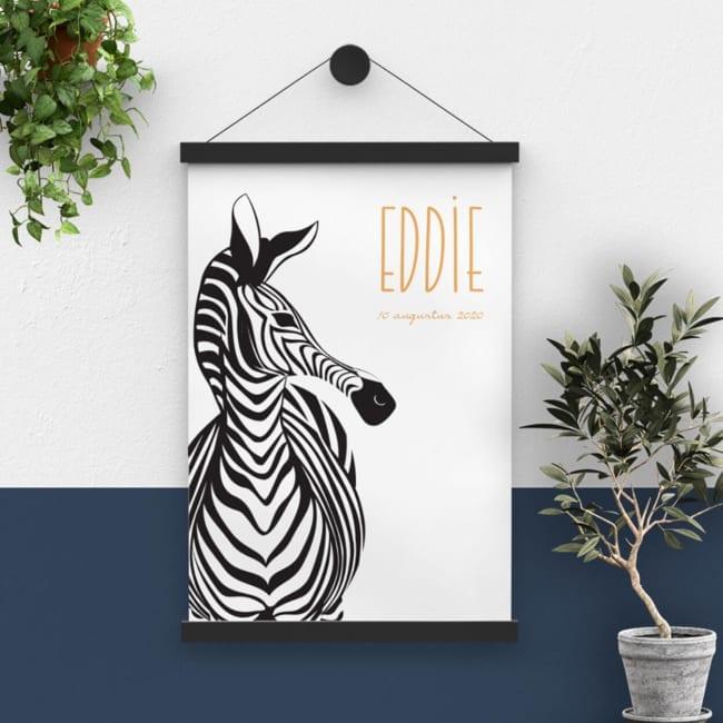 Het ontwerp van geboortekaartje Zebra Parade is omgezet worden naar een prachtige, grote poster. Eén van de zebra's is tot een groot formaat opgeblazen.