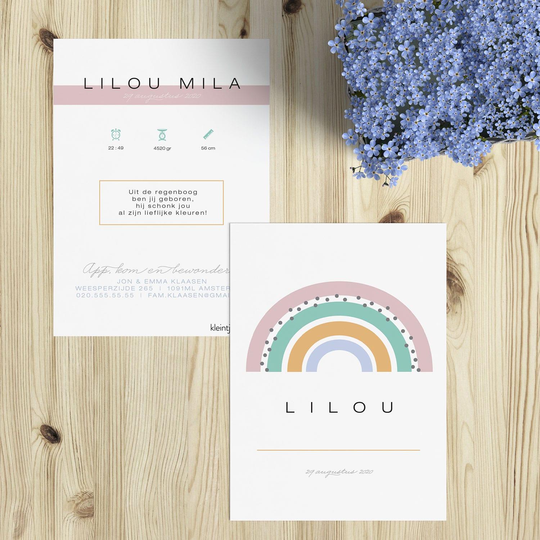 Hippe geboortekaartjes met regenboog in pastelkleuren. Met geboortegedichtjes.