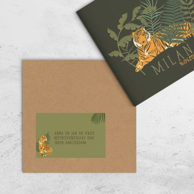 Adressticker Tijger: De tijger van de gelijknamige geboortekaart zit fier voor een plant. Leuk extra detail, die perfect aansluit bij het kaartje.