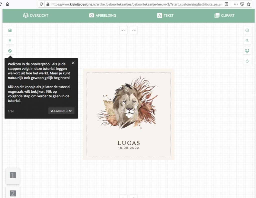 Geboortekaartjes bestellen - ontwerptool met tutorial