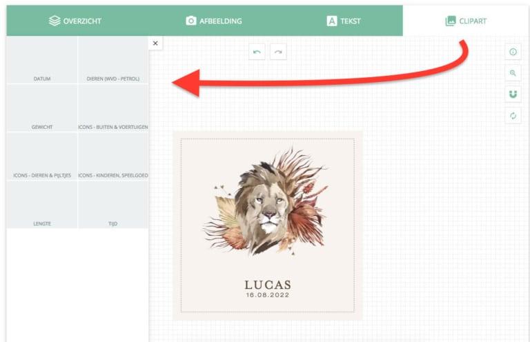 Geboortekaartje bestellen en maken - clipart toevoegen aan je ontwerp