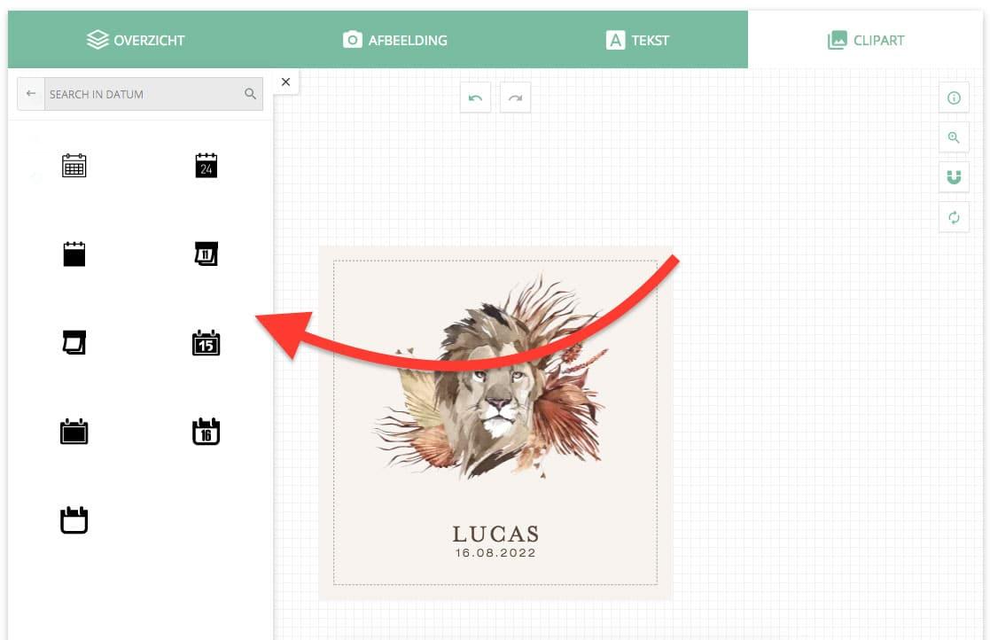 Geboortekaartjes ontwerpen - icoontjes toevoegen aan je geboortekaartje ontwerp
